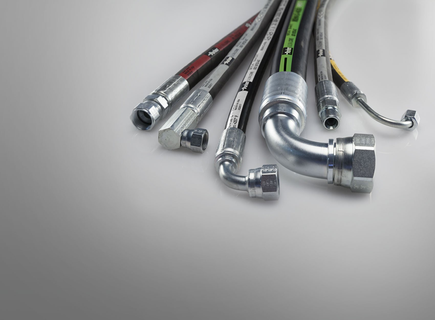 We make hoses! Fast replacement of hydraulic hose assemblies while you wait. Call 800-441-8195.